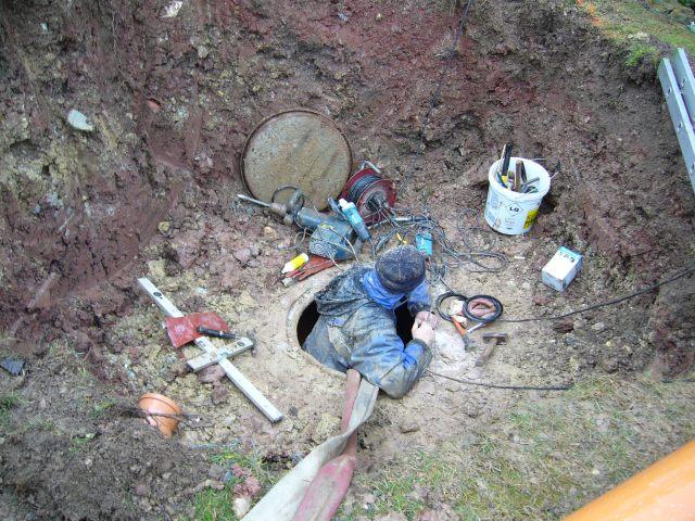 in der Grube